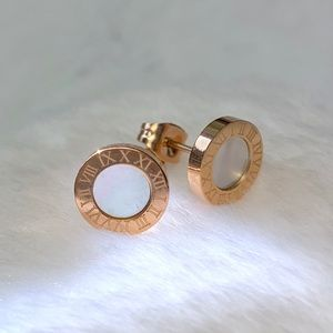 Gold Mother of Pearl Roman Numerals Stud Earrings